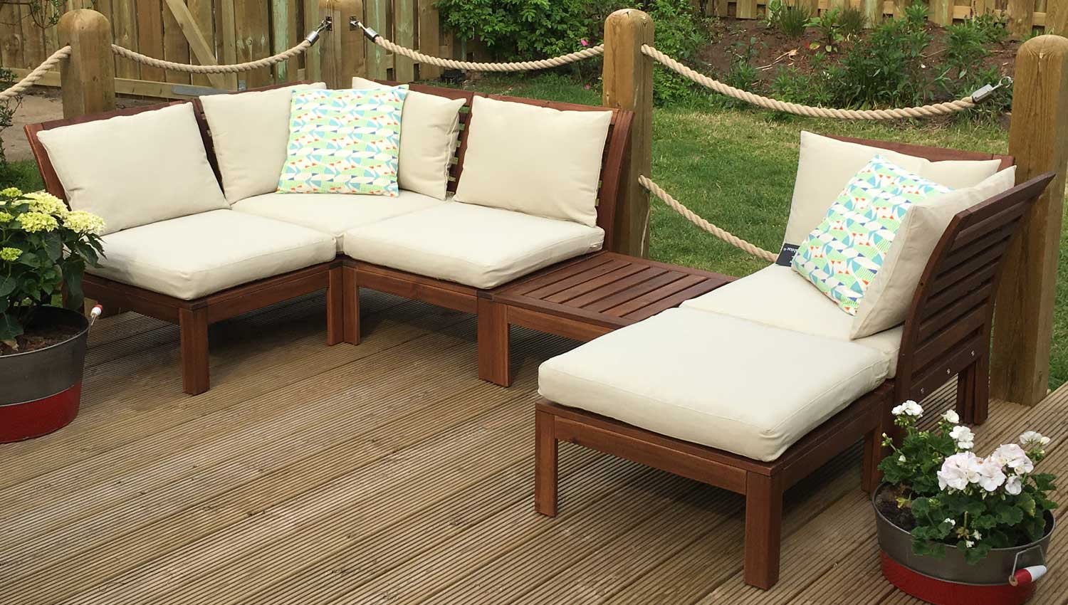 lounge on the outdoor sofas