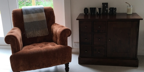 comfortable chairs and sofas DVD's and wood burner stove